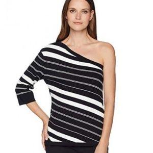 Anne Klein One Shoulder Striped Top